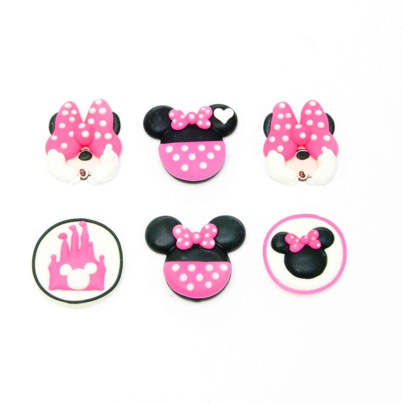 Minnie Mouse Sugar Decorations Pack Of 6 Lollipop Cake Supplies