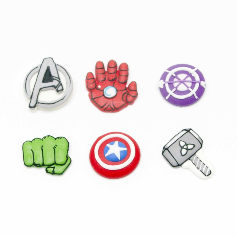 Avengers Logos Sugar Decorations Pack Of 6 Lollipop