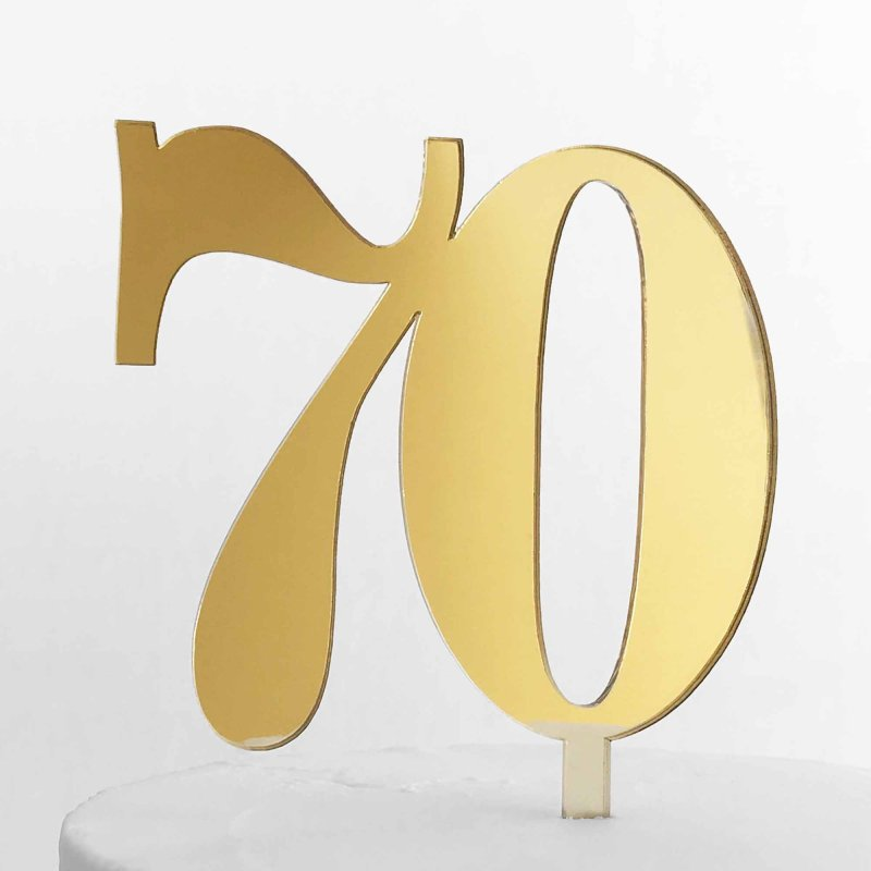 number gold cake double topper silver acrylic 70 mirror numbers 10cm designs