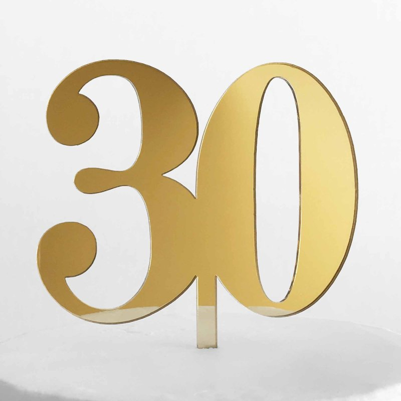 Double Number Acrylic Cake Topper Mirror Gold Lollipop
