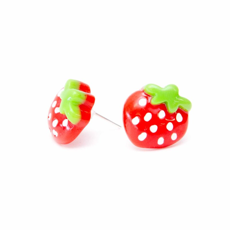 studs andralok yellow pin gold stud earrings strawberry and