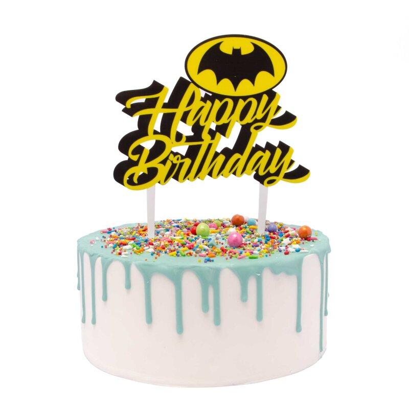 Batman Happy Birthday Acrylic Cake Topper